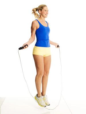 blonde girl jump rope